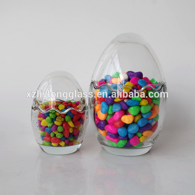 Wholesale Egg Shaped Clear Glass Candy Jar Decorative Jar