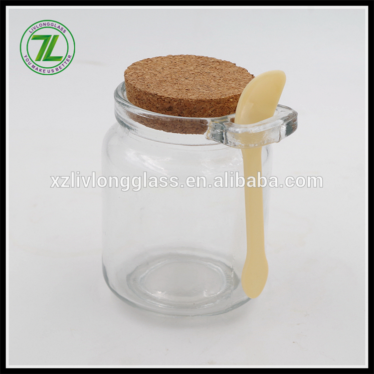 custom design 250ml glass storage bottle 8oz pudding glass jar with cork lid and spoon