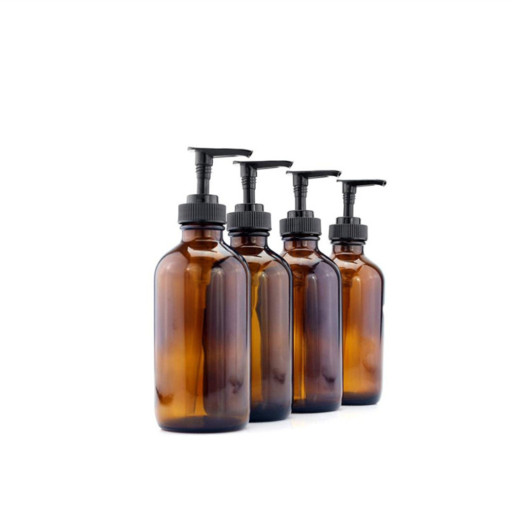 16oz Amber Glass Boston Round Bottles With Pumps For Essential Oils Lotions Liquid Soap