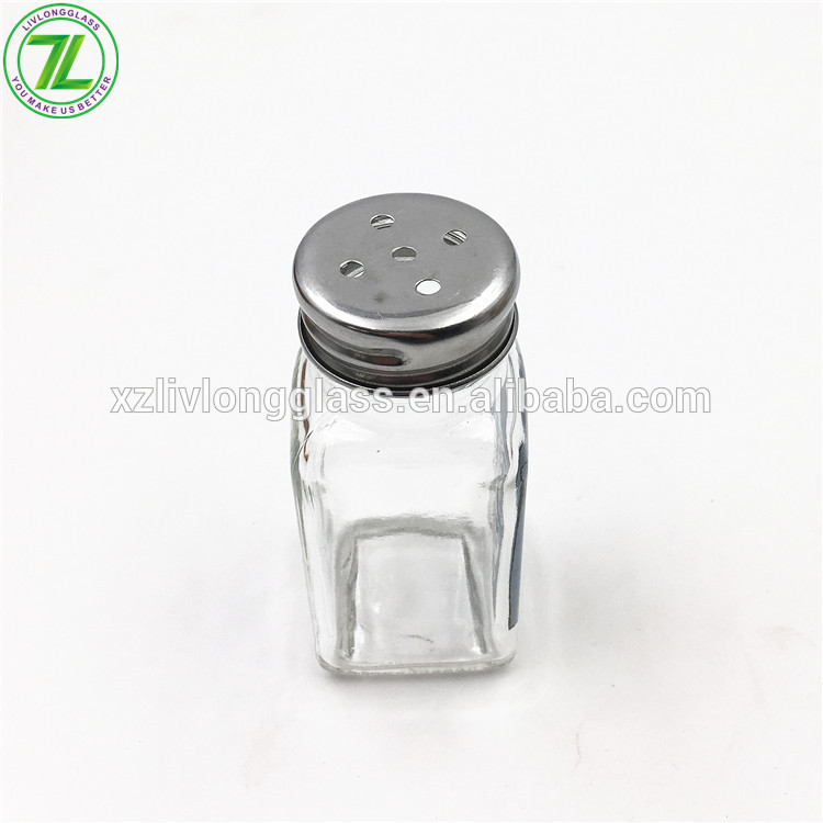 60ml Pepper Jar 2oz Square Glass Spice Jar With Metal Shaker
