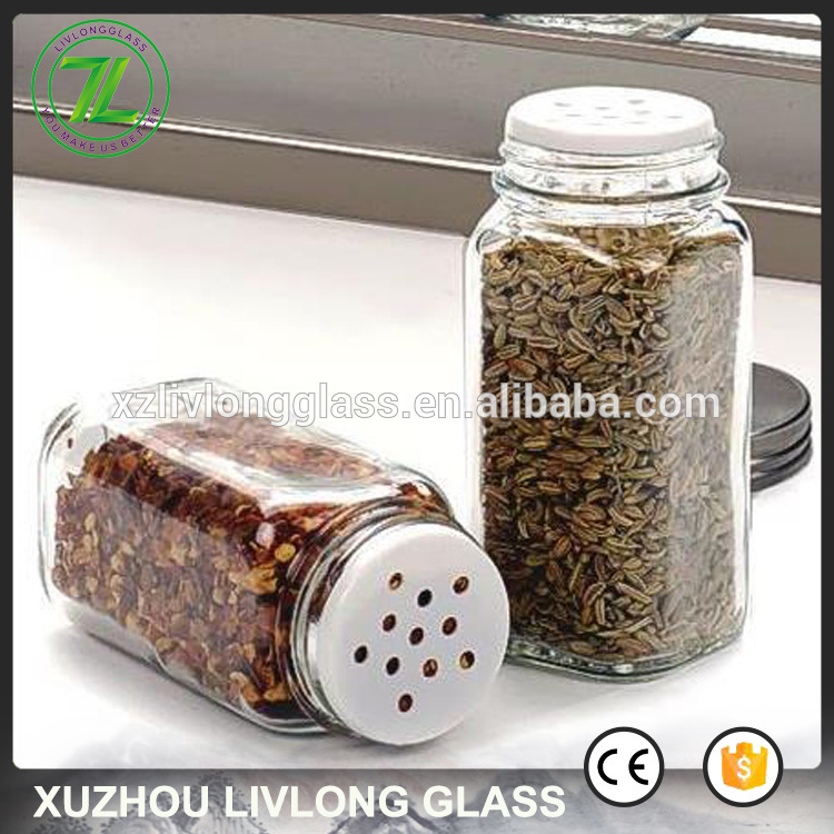 4oz salt and pepper glass jar 6oz square glass spice shaker with shaker holes and pour holes Featured Image