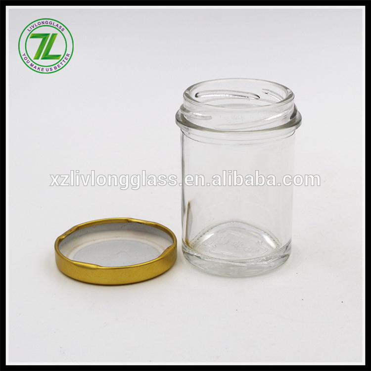 custom design 90ml cylinder shaped chutney bottle 3oz mini glass honey jar with gold cap