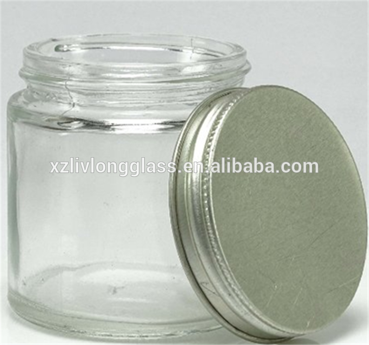 Empty Clear Glass Jar Mason Jar with Silver Cap