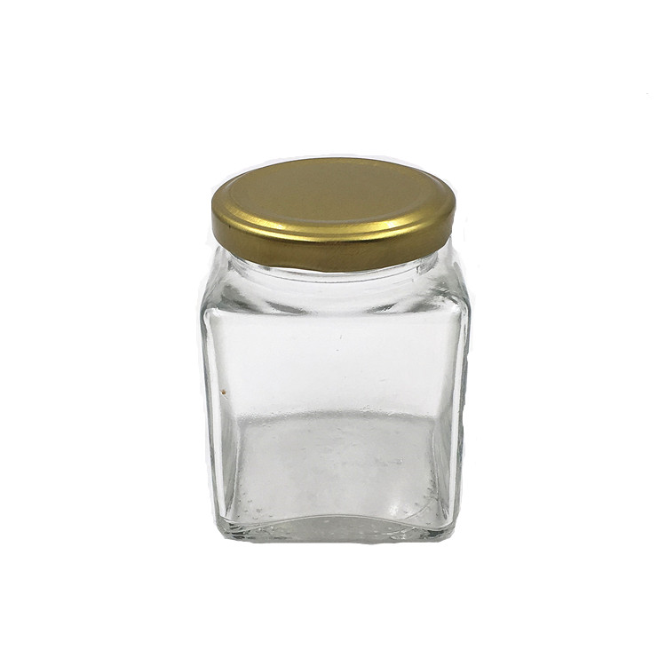 6oz Square Straight Sided Glass Jelly Jam Jar With Cap