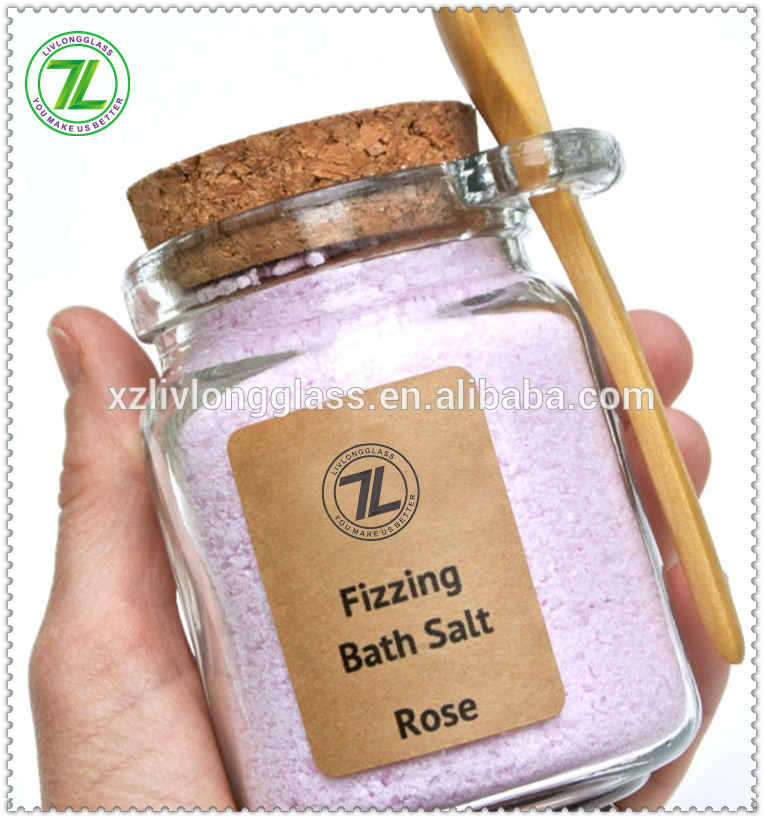 240mL bath salt jar with spoon 8oz glass body scrub jar bottle with wooden spoon Featured Image