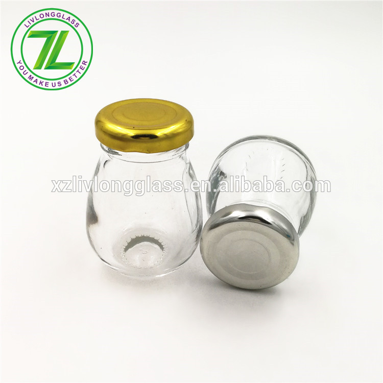 2oz 60ml egg shaped jam glass jar with metal lid
