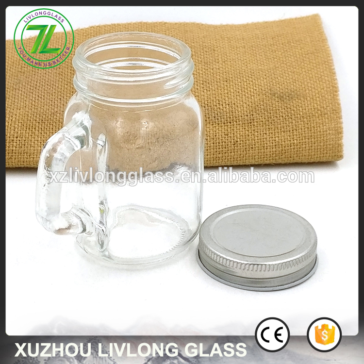square shape 120ml clear storage bottle 4oz glass mini mason jar with handle and lids Featured Image