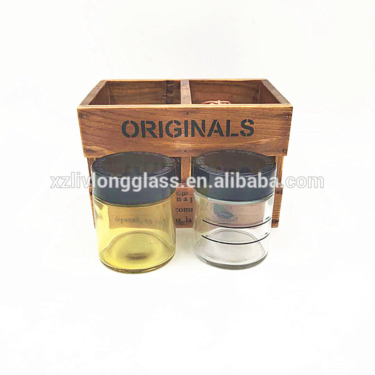 cheaper stocked CBD resistant glass jar 4ozwith wood or plastic childproof lid 120ml for cosmetic packaging or herbs weeds