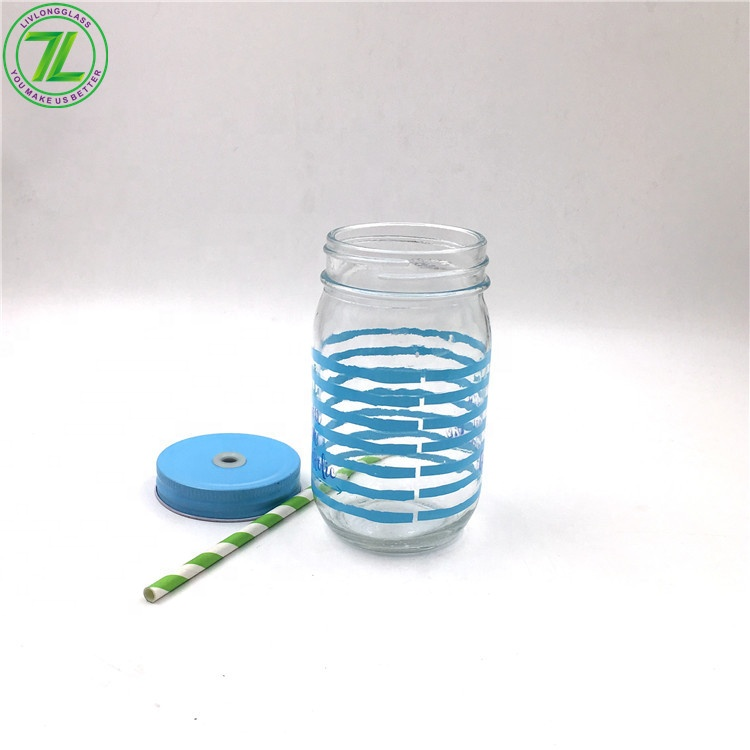 hot sale 500ml Glass Mason Jar With Stainless Steel Screw Lid For Cold Pressed Juice Beverage