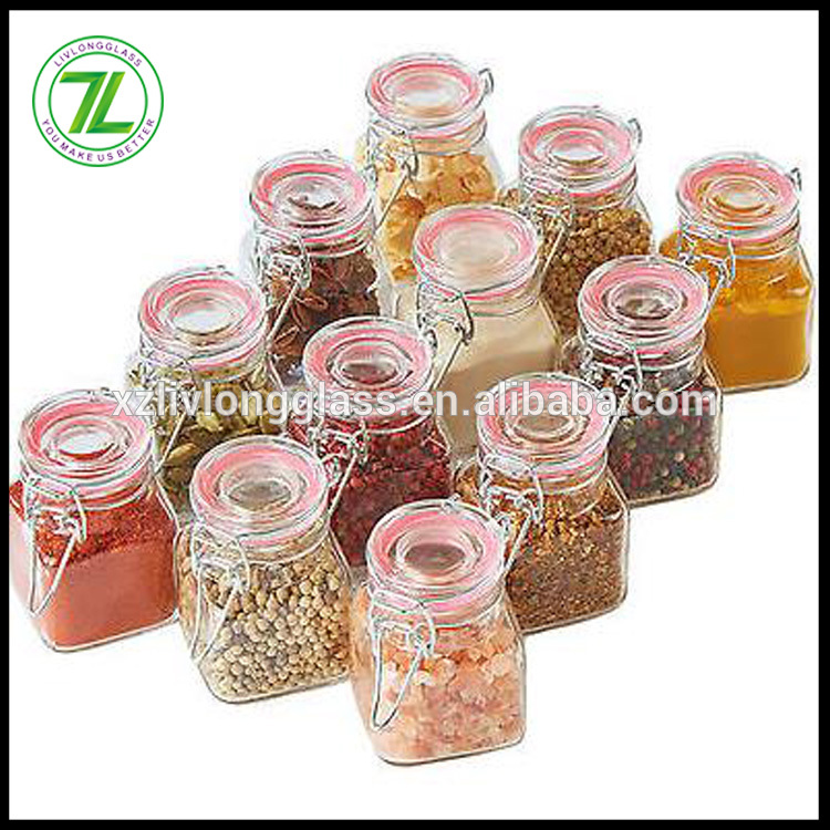 wholesale 100ml square flip top jar 3.5oz clear glass spice canning jar with glass lids