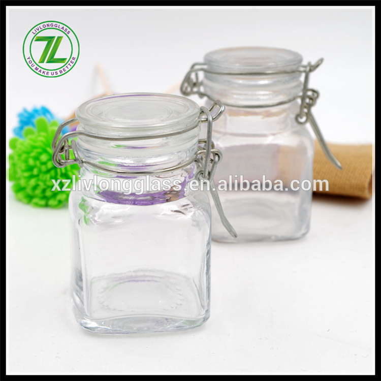 90ml mini square glass locking top jar spice jar with clip top