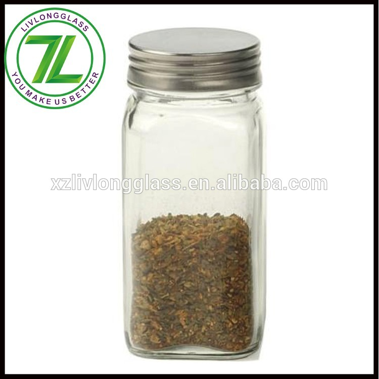 custom design 120ml square kitchen salt jar 4oz glass spice jar with metal lid