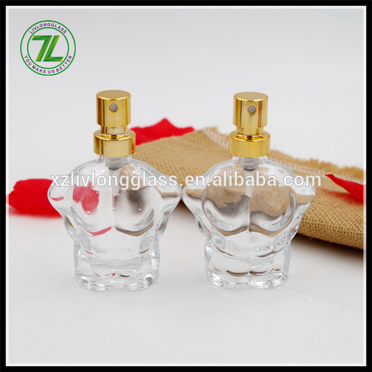 8 year export experience 20ml crystal men's glass bottle man body shape perfume bottle