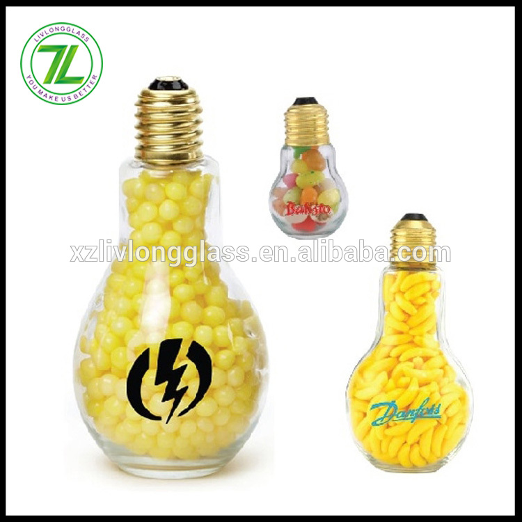 custom made 100ml 3.5oz bulb shaped glass candy jar with caps and private printed logo