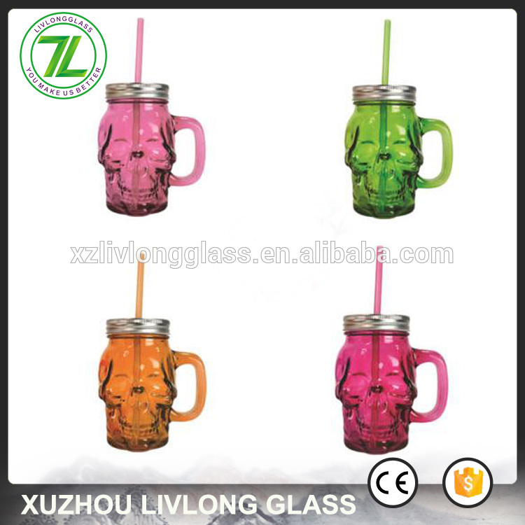 New Delivery for Glass Mason Jar With Metal Lid - unique skull shape 420ml 14oz colored empty glass drinking jar for cocktail – LIVLONG