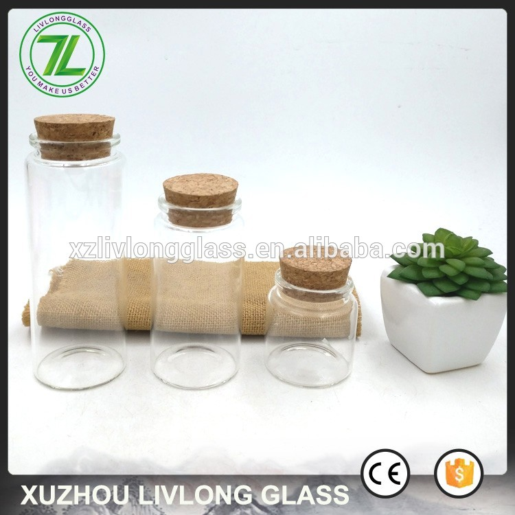 customize 3oz storage glass jar 80ml borosilicate glass bottle with cork lids