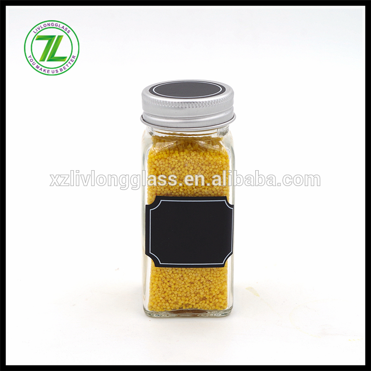 4oz / 120ml clear glass square spice jar with clip top Featured Image