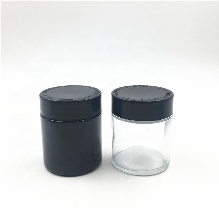 2oz 4oz Childproof Black Violet UV Glass Jar With Child Resistant Lid For Weeds CBD