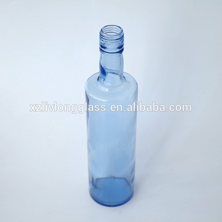 LIGHT BLUE Glass Bottle 500ml Small Mouth for Liquor and Oil