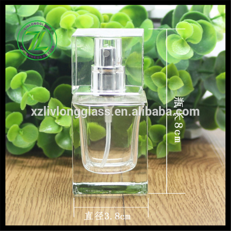 square empty clear perfume glass bottle with pump