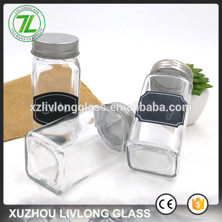 clear herbs bottle 120ml 4oz square glass spice jars with stainless steel lids