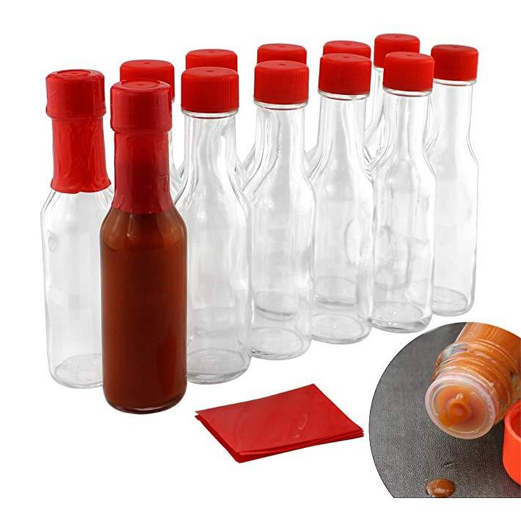Popular Design for Herb Bottles - 3 Ounce Hot Sauce Bottles Clear Glass Bottles With Lids Dropper Red Shrink Bands – LIVLONG