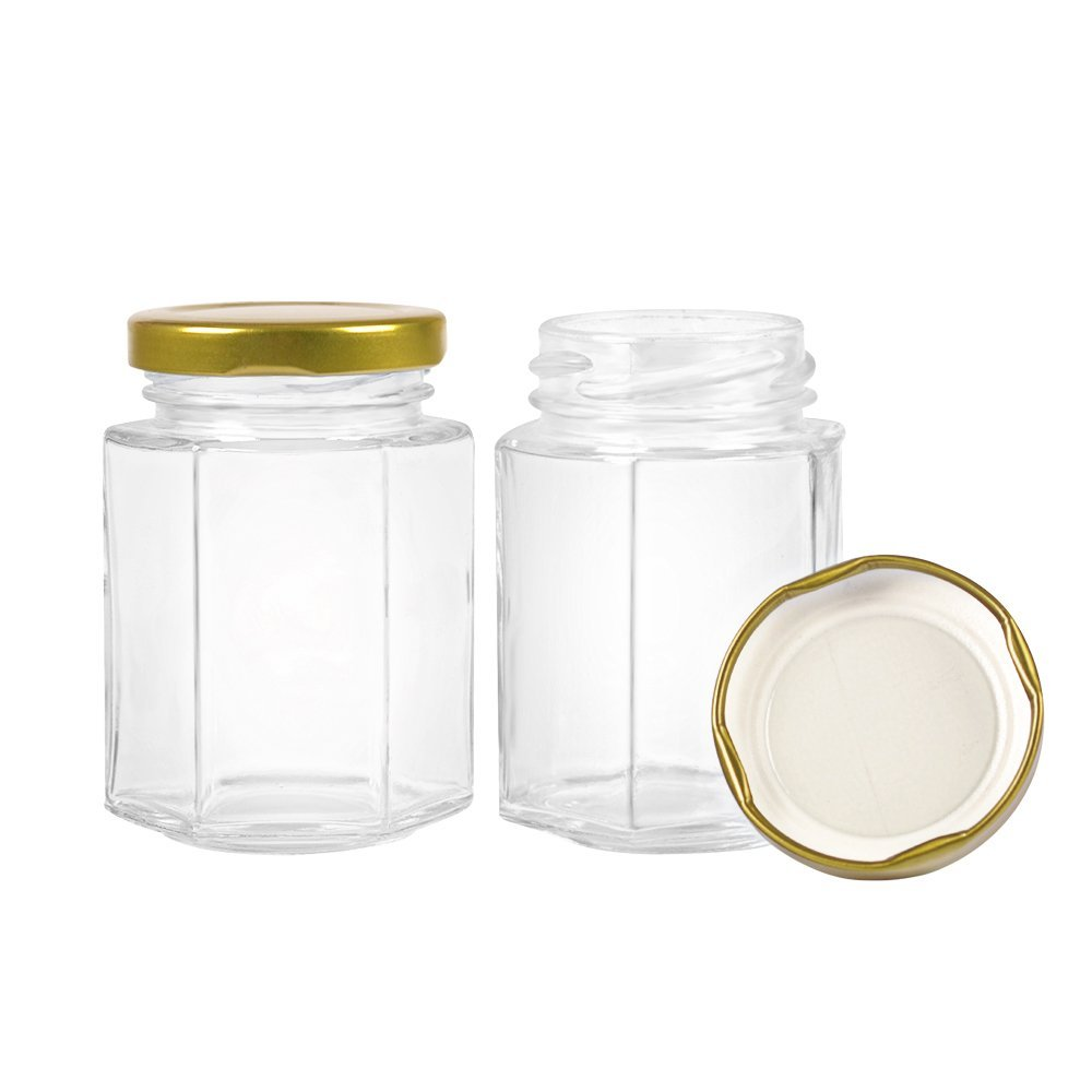 4 oz Hexagonal Clear Glass Jam Jars with Gold Lid