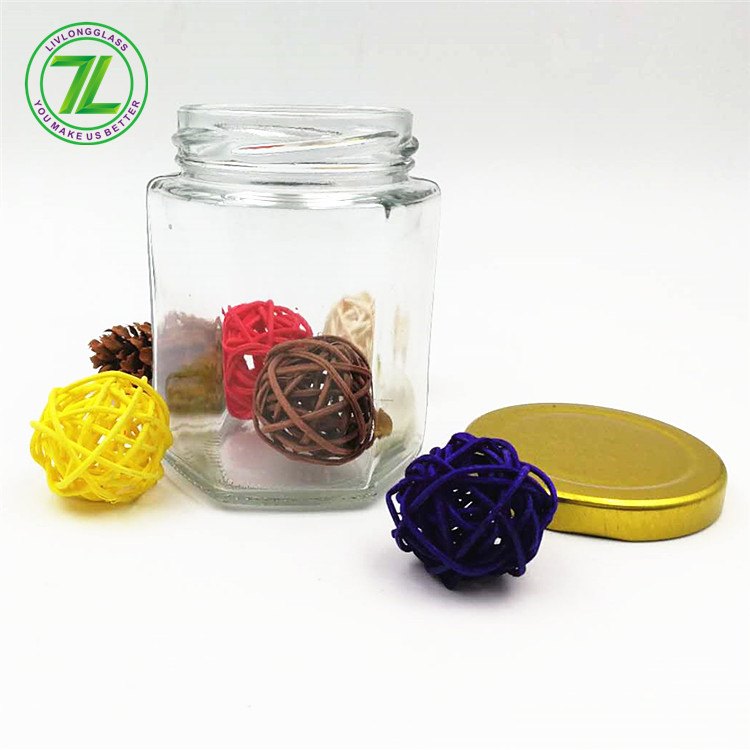 weeds pack 6oz hexagon glass jar with gold lid