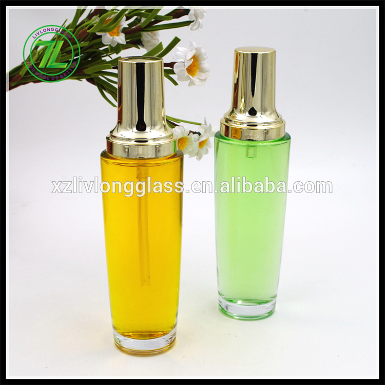 100ml clear glass lotion bottle with gold cap