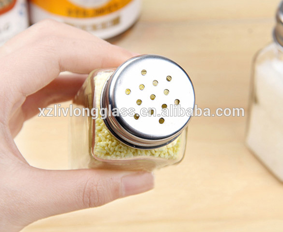 glass kitchenware square spice bottle with stainless steel sieve lid