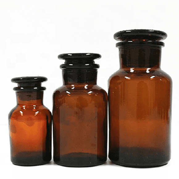 HOT eco cheap amber pill spell tablet loading glass bottle Health care product bottle with glass or cork lid for medicine powder