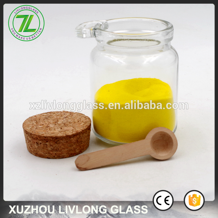 hot sale 200ml Clear Sea Salt Glass Spice Jars with Wood Spoon
