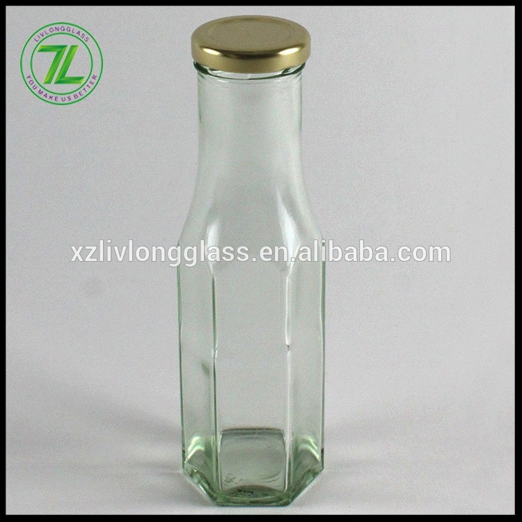 custom shape 8oz cheap hexagonal packaging  bottle 250ml clear empty glass sauces bottle with twist off lids and logo