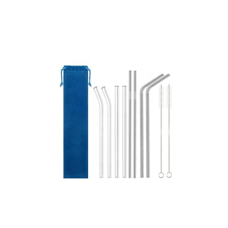 Customizable Handmade Reusable Clear Straight Glass Straw With Brush In Box
