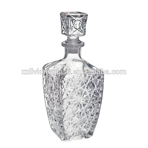 WHOLESALE Fancy Diamond Shaped Liquor Wine Glass Bottle with Glass Stopper