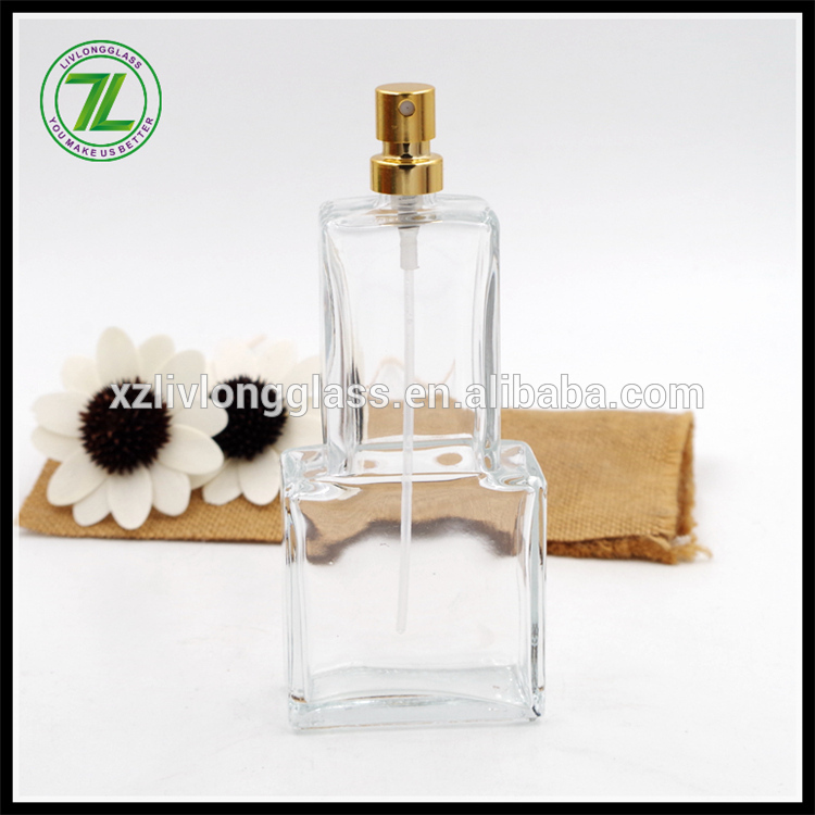 100ml glass square perfume bottle with pump sprayer