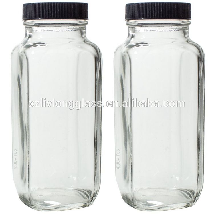 Wholesale Price China Cosmetic Bottle Glass - 8 oz 250ml Clear French Square Glass Bottle for Juice Spices Herbs – LIVLONG
