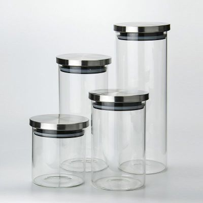 Sealed glass jars Household tea storage straight cans Kitchen food storage tanks with stainless steel lids  100ml 150ml 250ml
