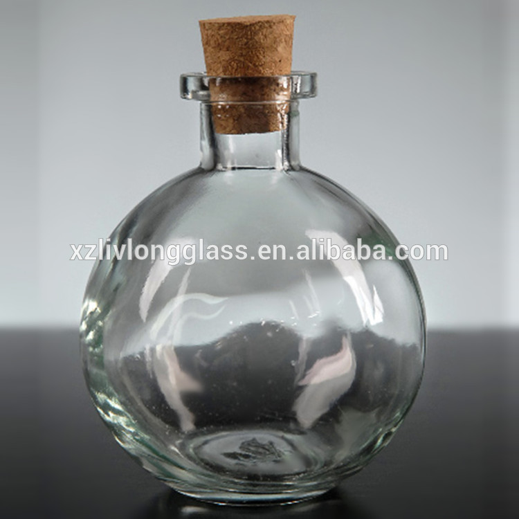 Small Round Glass Bottles with Corks 8 oz