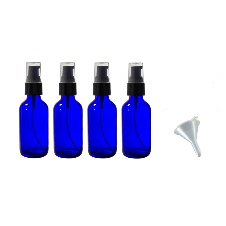 2017 China New Design Stackable Glass Storage Jar - 2 oz 60ml Cobalt Blue Glass Boston Round Treatment Pump Bottle with Funnel and Labels for essential oils aromatherapy – LIVLONG
