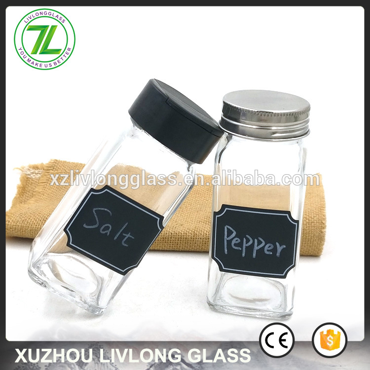 customize 120ml square salt bottle 4oz glass spice jar with blank chalkboard label and shaker lids