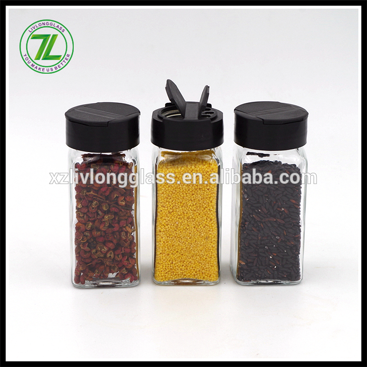 custom design 120ml glass square pepper bottle 4oz spices packaging with shakers