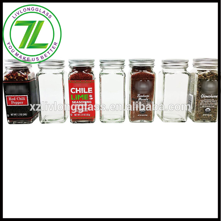 custom design 120ml 4oz square glass spice jar with shaker tops
