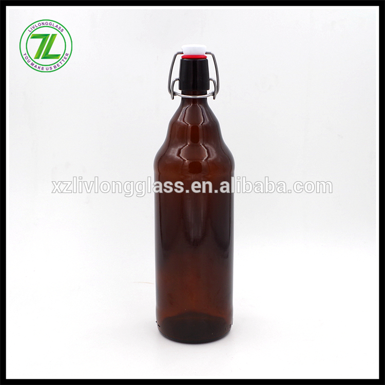 1l AMBER Glass Beer Bottle with Airtight Swing Top Cap