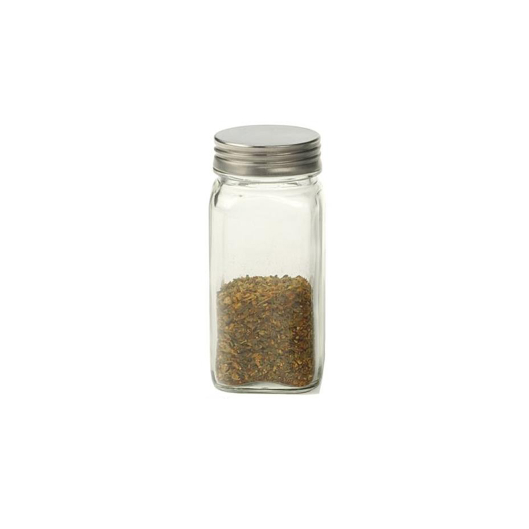 square spice jar 120ml 4oz mini table salt bottle with screw lid