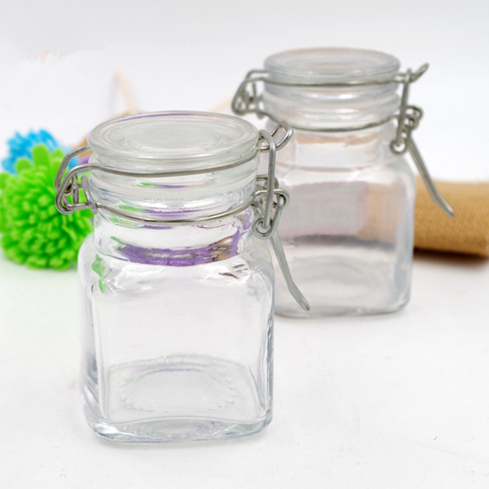 factory selling 100ml square vegetable salad jam sauce caviar glass bottle honey jar spice sugar glass jar with clip top 3oz
