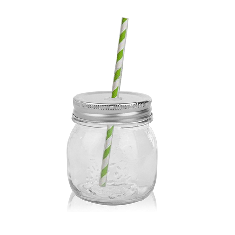 8 4oz clear smooth mason glass jar food storage bottle for beverage juice summer drinking with straw and hole lid for jam sauce