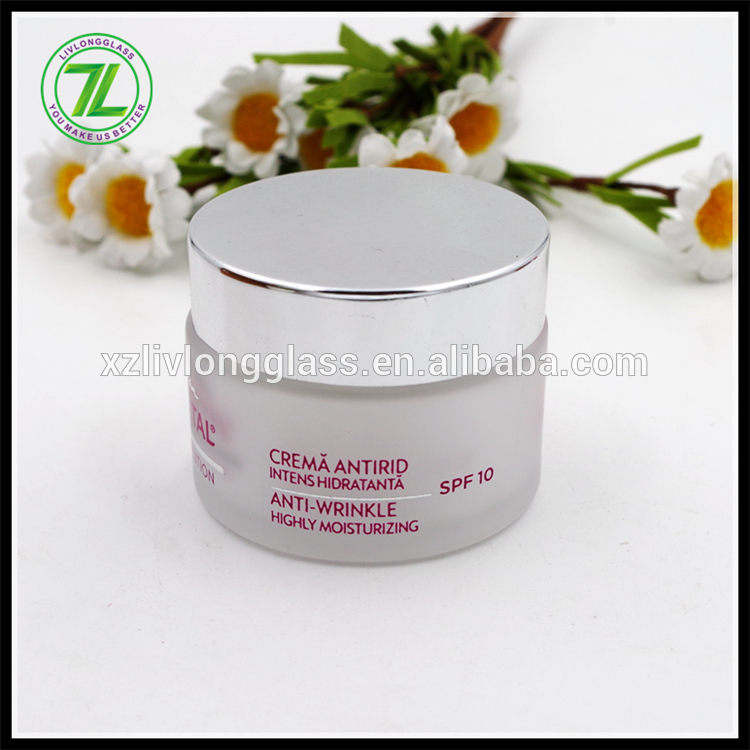 Luxury 50g Face Cream Silver Cosmetics Cream Glass Jar For Skin Care