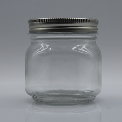 custom retro simple portable high temperature transparent glass mason jar 250ml  for juice coffee tea with lid wholesale