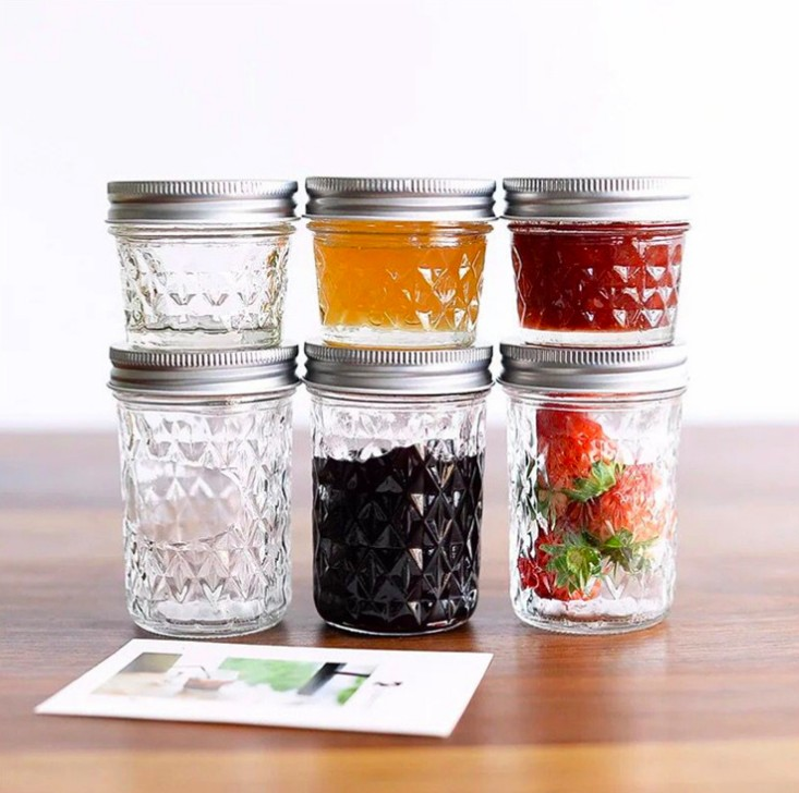 clear ripple mason glass jar food storage bottle for beverage juice summer drinking with aluminum hemetic lid for jam sauce 4oz